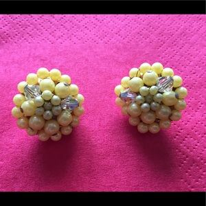 Vintage yellow clip on earrings